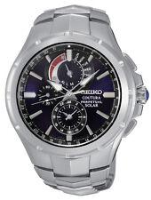 New Seiko SSC375 Coutura Solar Chronograph Stainless Dark Blue Dial Men's Watch