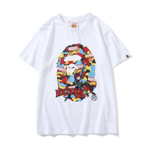Marvel-Bape-A-Bathing-Ape-T-shirt-Tee-Black-Widow-Monkey-Head-Short-Sleeve-Loose
