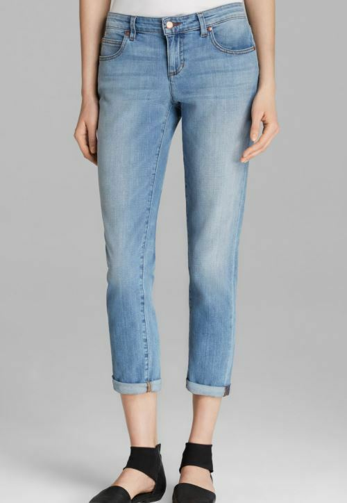 Eileen Fisher Abraded Sky bluee Tapered Stretch Organic Crop Denim Jeans 4P, 8,12