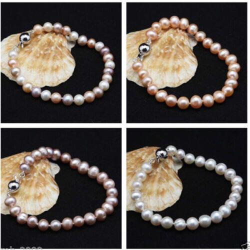 "Genuine Natural 8-9mm White//Pink Pearl Bracelet 7.5/"" Cultured Freshwater"