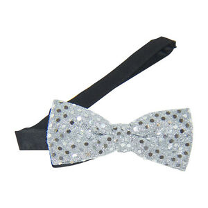 Silver Sequins Banded Bow Tie