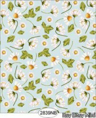 Daisy Blue Border Check Dollhouse Quarterscale Wallpaper