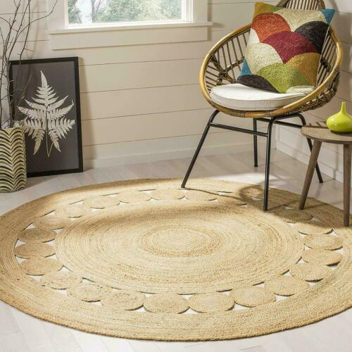 Jute Round Rug Braided Style 100/% Natural Jute Area Rug Home Decor Modern Carpet