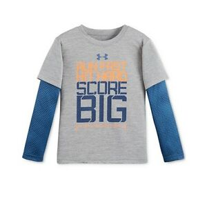 NEW-Under-Armour-Little-Boys-039-Layered-Look-Graphic-Print-T-Shirt-Gray