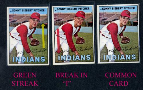 """1967 TOPPS #95 SONNY SIEBERT /""""GREEN STREAK//BROKEN I/"""" ALL 3 ERROR VARIATIONS"""