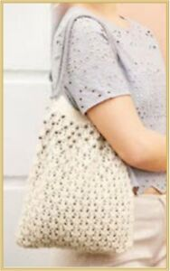HM002 KNITTING PATTERN TOTE SHOPPING BAG WITH OPTIONAL PEARL TRIM