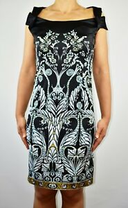 Just-Cavalli-Satin-Pencil-Dress-Black-Autumn-Italian-Wedding-Christmas-Size-8-X1