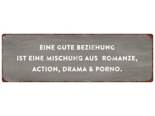 METALLSCHILD Blechschild EINE GUTE BEZIEHUNG IST EINE MISCHUNG Freundin Freund