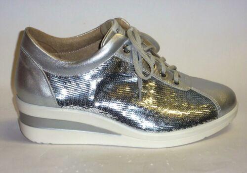 Melluso Argento Pelle Comoda Moda 39 Sneakers Paillettes N R20114 Con Colore BYTqTw