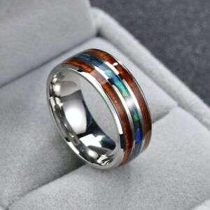 8mm-Rainbow-Shell-Band-Stainless-Steel-Men-039-s-Silver-Wood-Jewelry-Rings-Size-7-12
