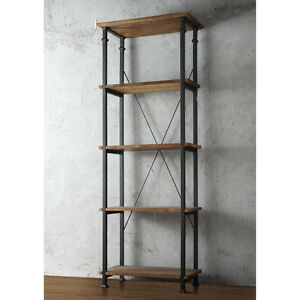 4 Shelf Bookcase Tower Restoration Bookshelves Black Metal Hardware X Back Book