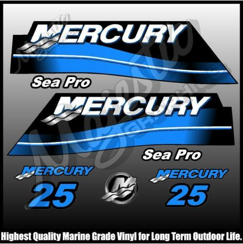 DECAL SET MERCURY 25hp OUTBOARD DECALS SEAPRO