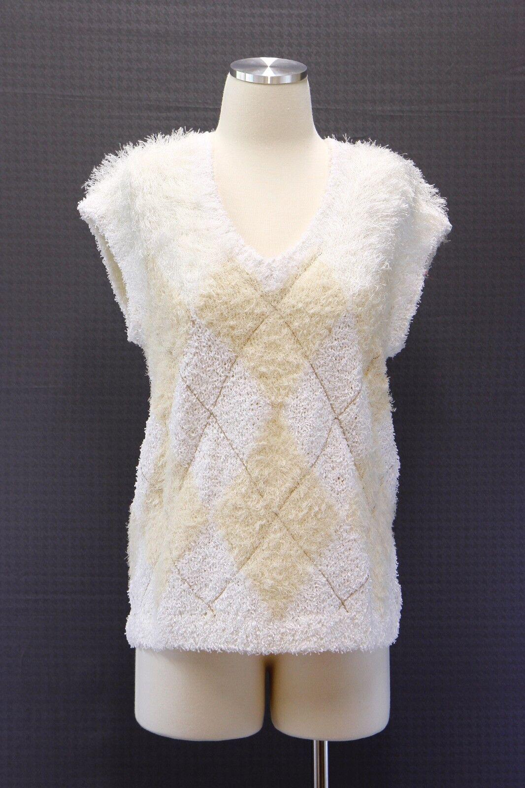 NWT  Brunello Cucinelli Textured Furry Knit Monili Argyle Sweater Vest A176
