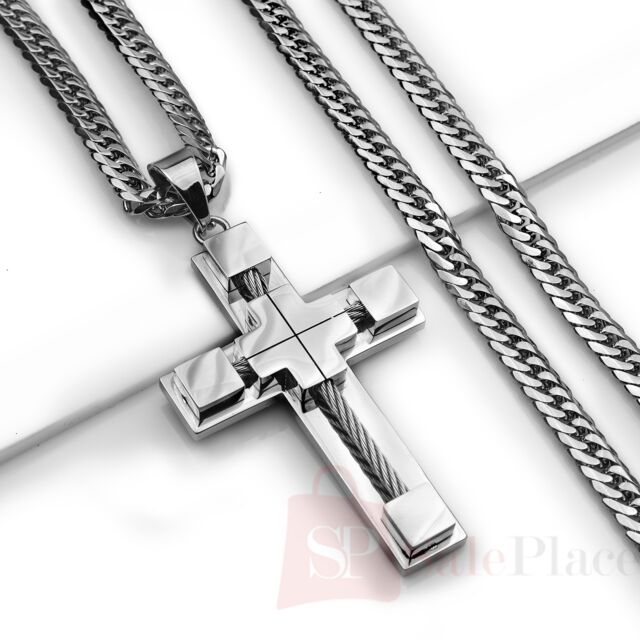 """24"""" MENS Stainless Steel 6mm Silver Cuban Curb Link Chain Necklace Cross Pendant"""