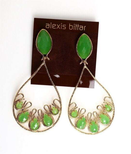 Alexis Bittar Women S Gold Green Clip On Earrings 0651