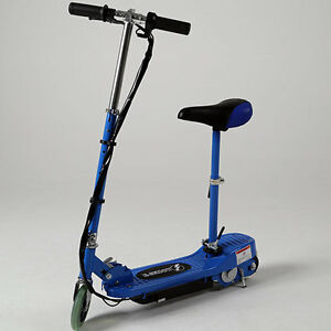 Blue electric scooter eskooter adjustable height removable for Stand on scooters with motor