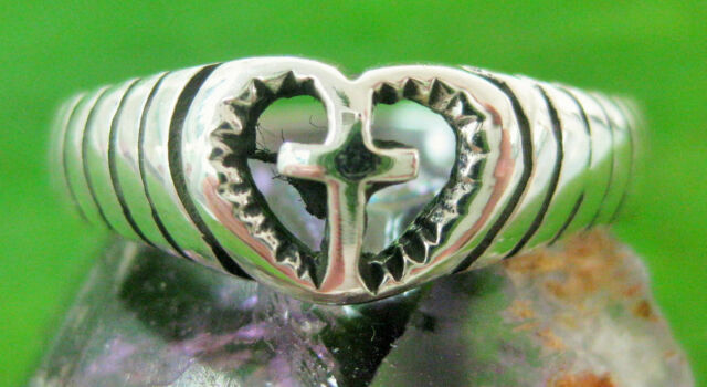 REAL925 sterling silver oxidised CROSS in love HEART ring big size 4.75-12 WOMEN