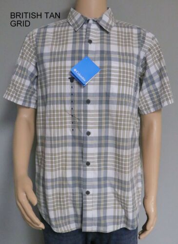 COLUMBIA THOMPSON HILL SHORT SLEEVED SHIRT PLAID BUTTON FRONT WITH CHEST POCKET