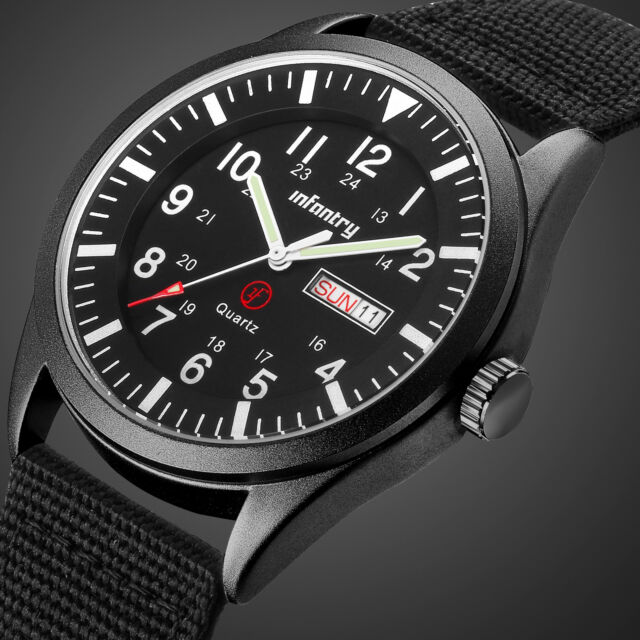 🎁INFANTRY Mens Date Day Quartz Wrist Watch Luminous Sport Military Black Nylon