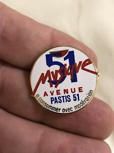 Vintage-Pin-Badge-Advertising-Pastis-51-Musique-French-Alcohol
