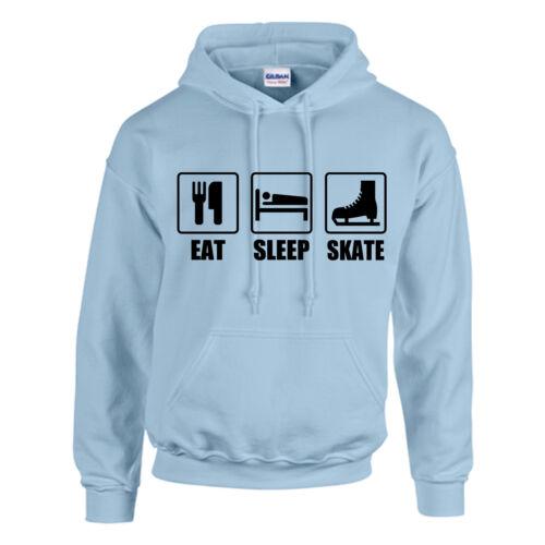 KIDS-personalizzato-TOP Pattinaggio sul ghiaccio Hocky dormire Mangiare skate FELPA CAPPUCCIO ADULTO