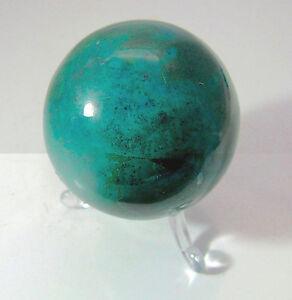 Edelsteine-Kugel-Edelsteinkugel-Natur-Chrysokoll-Gruen-Mineral-252g-54mm
