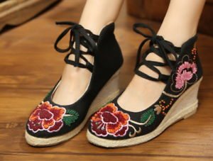 9f188fd5645c Women s Embroidered Flower Platform Strappy Lace Up Wedge High Heel ...