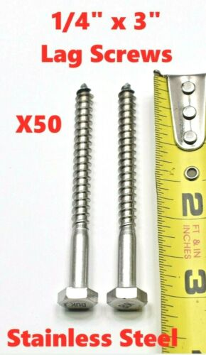 """QTY 50 New 50 1//4/"""" x 3/"""" Stainless Steel Lag Screws Hex Head Lag Bolts"""