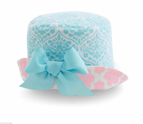 Mud Pie Spring Little Chick Baby Girl Pink And Blue Sun Hat With Bow 1502120