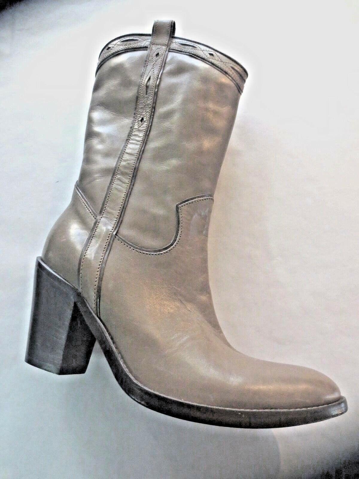 FRU.IT Cowboystiefel neu Leder fango Absatz 8cm Wert 320E Schuhgrößen 35.5,37