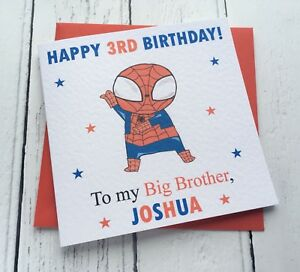 Image Is Loading Personalised Boys Spiderman Theme Little Brother Big