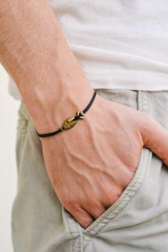 Croix de Poisson Bracelet Pour Hommes Noir Cordon