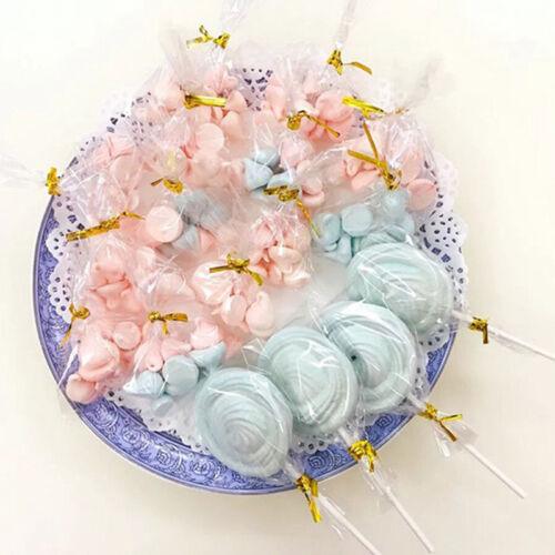 100x Transparent Party Gift Chocolate Lollipop Favor Candy Bags Cellophane DIY