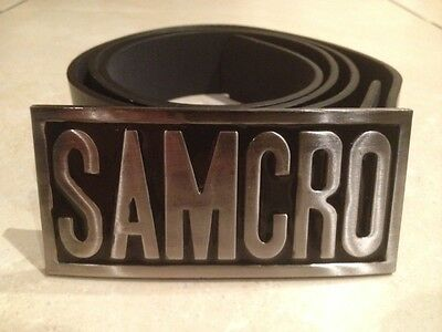 SONS OF ANARCHY SAMCRO logo metal BUCKLE with FREE BELT motor cycle club NEW
