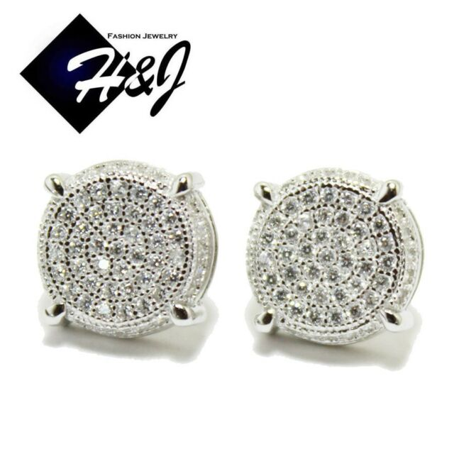 MEN 925 STERLING SILVER ROUND 10MM LAB DIAMOND ICED OUT BLING STUD EARRING*E12