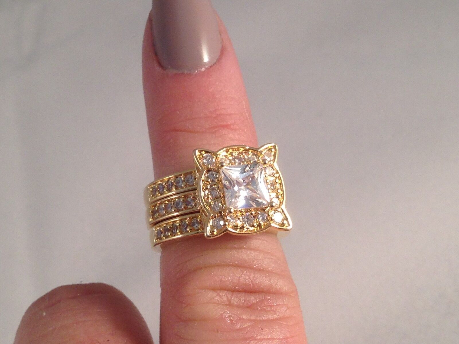 Real Collectibles by Adrienne® 2.94ct Diamonite CZ Princess Cut 3 Ring Set