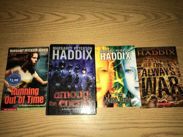 Margaret Peterson Haddix Lot of 4 books Running Out of Time Double Identity + 2