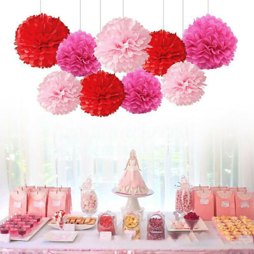 9PCS Paper Flower Poms Ball Round Wedding Party Event Festival DIY Decor 8//10/'/'