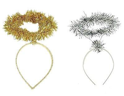 Christmas Festive Tinsel Angel Halo Deeley Bopper Girls Alice Hair Band Headband