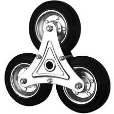 "Black Rubber Metal Core Stair Climbing Wheels (160MM/6"")"