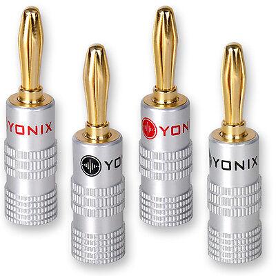 20 x Yonix ® High End Bananenstecker 24K vergoldet Bananas f. Lautsprecher Kabel