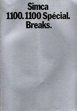 RARE brochure catalogue depliant SIMCA 1100 SPECIAL BREAKS