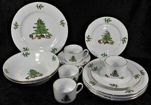 Holiday Hostess Christmas China Dinnerware - Plates, Bowls, Cups, Saucers - EUC