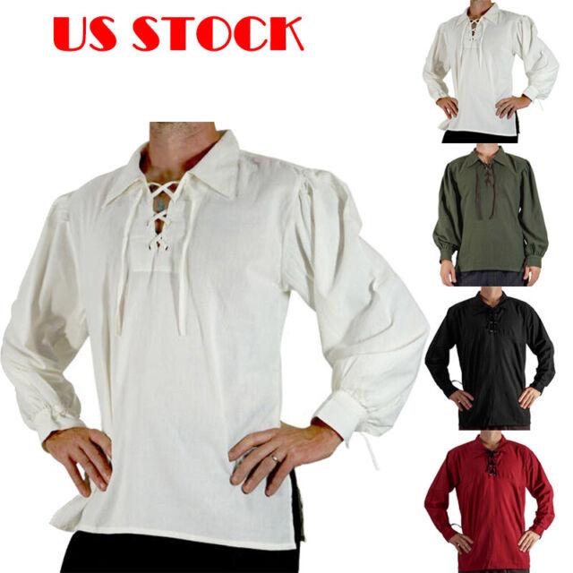 Renaissance Mens Sleeveless Knight Top Shirt Medieval Peasant Pirate Cos Costume