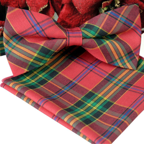 *BRAND NEW*DEEP CORAL AND MULTI-COLOR CHECK MENS BOW TIE POCKET SQUARE SET B1104