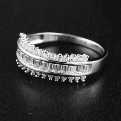 Other Fine Rings Bright Solid 925 Sterling Silver Cz Round Baguette Engagement Wedding Band Ring 7mm Aromatic Flavor
