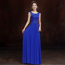 2016 Blue Long Chiffon Bridesmaid Evening Formal Party Ball Gown Prom Dress N18