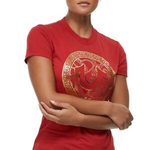 True-Religion-Women-039-s-Gold-Metallic-Foil-Chain-Horseshoe-Tee-T-Shirt-in-Ruby-Red