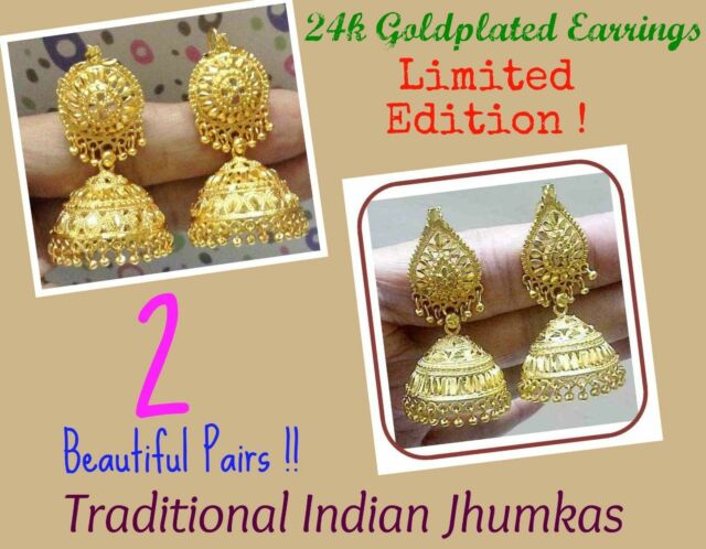 fdd8c54eb 22k 24k GoldPlated Traditional South Indian Earrings Jhumka Jewelry  Jewelery Set for sale online
