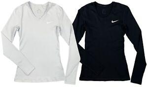 Nike-Womens-Pro-Dri-Fit-Long-Sleeve-Swoosh-Training-Shirt-Black-Grey-New-AJ4259
